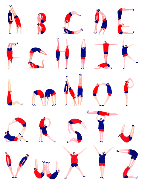 Illustrated alphabet inspired by the london olympics 2012